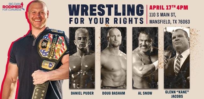 "Dan Rodimer Holding ""Wrestle for Your Rights"" Saturday, Free WWE-Themed Event for Families in TX-06"